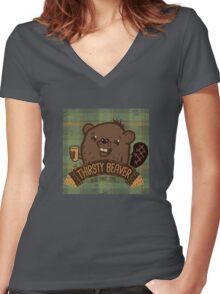 The Thirsty Beaver Bar & Grill Women's Fitted V-Neck T-Shirt