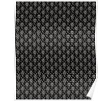 Black and Grey Old Victorian Pattern Design Texture Poster