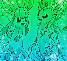 Pokemon - Glaceon and Leafeon by TinyButterz117