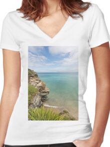 Cliff Edge at St Agnes Women's Fitted V-Neck T-Shirt