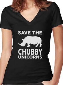 Save the Chubby Unicorns Women's Fitted V-Neck T-Shirt