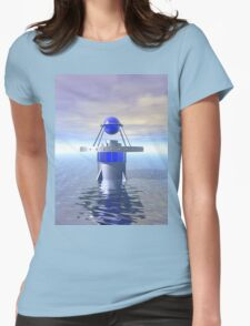Blue Sci Fi Structure Womens Fitted T-Shirt