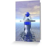 Blue Sci Fi Structure Greeting Card