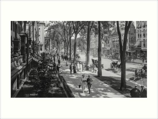 Broadway in Saratoga Springs, New York, ca 1915 (16:9 crop) Black & White version by Sanna Dullaway