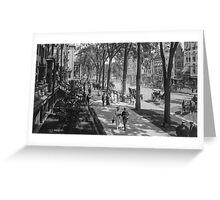 Broadway in Saratoga Springs, New York, ca 1915 (16:9 crop) Black & White version Greeting Card