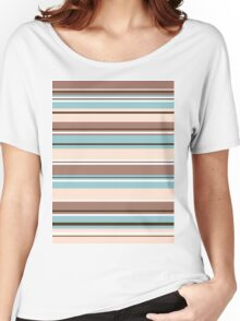 Stripey Design Browns Blue Cream & White Women's Relaxed Fit T-Shirt