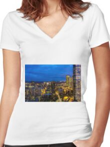 Seattle, Washington skyline at dawn Women's Fitted V-Neck T-Shirt