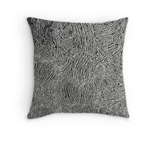 Silver and black abstraction, circles, curves Throw Pillow