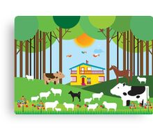 Farm in the forest Canvas Print