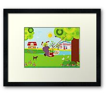 Grandmother swinging  Framed Print