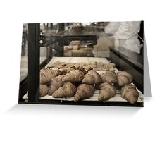 French croissants displayed in Paris bakery window. Greeting Card