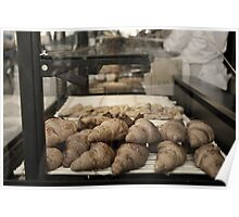 French croissants displayed in Paris bakery window. Poster