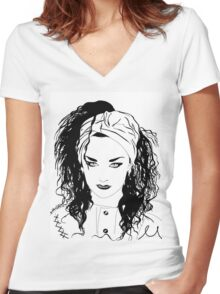 BOY GEORGE (Black & white vers.) Women's Fitted V-Neck T-Shirt