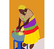 woman and a bowl of fruit  Photographic Print