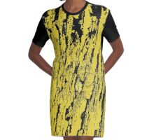 Old tree in yellow, pattern Graphic T-Shirt Dress