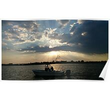 sunset and fishing boat at Jamaica Bay Poster