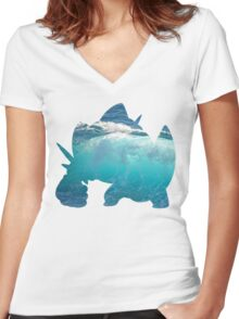 Mega Swampert used Hydro Pump Women's Fitted V-Neck T-Shirt