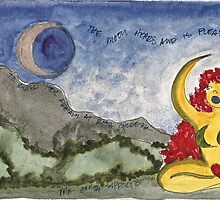 SHE CALLS TO THE MOON, ROSH CHODESH by dkatiepowellart