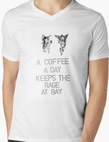 a coffee a day keeps the rage at bay. coffee quote Mens V-Neck T-Shirt