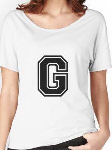 """Letter """"G""""  - Varsity / Collegiate Font - Black Print Women's Relaxed Fit T-Shirt"""