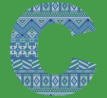 Letter C Blue Aztec Stripes Pattern Boho Monogram Initial Baby Tee