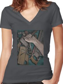 vintage woodworking tools on wooden bench Women's Fitted V-Neck T-Shirt