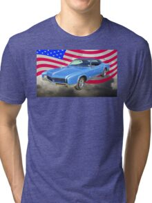 1967 Buick Riviera With United States Flag Tri-blend T-Shirt