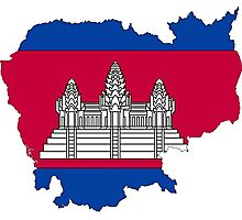 Cambodia Map With Cambodian Flag Photographic Print