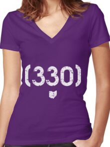 Area Code 330 Ohio Women's Fitted V-Neck T-Shirt