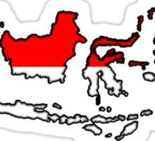 Indonesia Map With Indonesian Flag Sticker