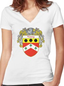Young Coat of Arms / Young Family Crest Women's Fitted V-Neck T-Shirt
