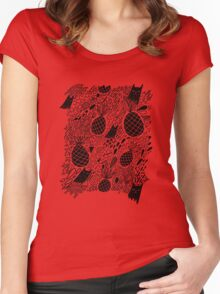 Black Cats and Pineapples Women's Fitted Scoop T-Shirt