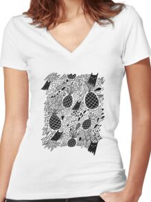 Black Cats and Pineapples Women's Fitted V-Neck T-Shirt