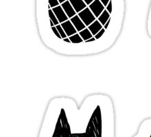 Black Cats and Pineapples Sticker