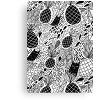 Black Cats and Pineapples Canvas Print