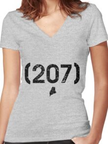 Area Code 207 Maine Women's Fitted V-Neck T-Shirt