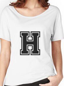 """Letter """"H""""  - Varsity / Collegiate Font - Black Print Women's Relaxed Fit T-Shirt"""