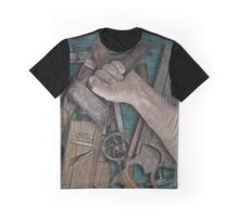 vintage woodworking tools on wooden bench Graphic T-Shirt