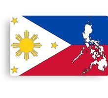 Philippines Map With Philippine Flag Canvas Print