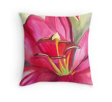 Red Alert day lily watercolour flower Throw Pillow