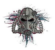 T-60 Spattered Helmet Photographic Print