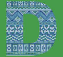 Letter D Blue Aztec Stripes Pattern Boho Monogram Initial One Piece - Short Sleeve