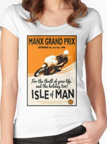 """""""MANX GRAND PRIX"""" Motorcycle Racing Print Women's Fitted Scoop T-Shirt"""