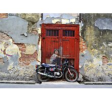 Alley Motorcyclist Photographic Print