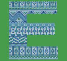 Letter E Blue Aztec Stripes Pattern Boho Monogram Initial Kids Tee