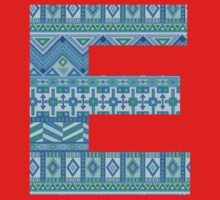 Letter E Blue Aztec Stripes Pattern Boho Monogram Initial Baby Tee