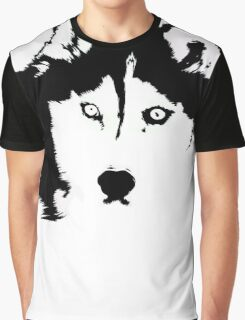 Black and White Husky Graphic T-Shirt
