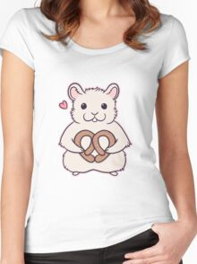 I love you more than this hamster loves pretzels Women's Fitted Scoop T-Shirt