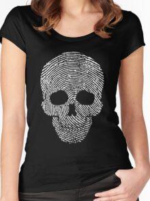 Fingerprint Skull White  Women's Fitted Scoop T-Shirt