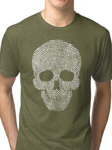 Fingerprint Skull White  Tri-blend T-Shirt